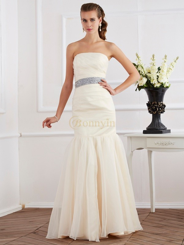 Ivory Organza Strapless Trumpet/Mermaid Floor-Length Dresses