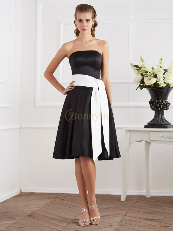 Black Satin Strapless A-Line/Princess Knee-Length Dresses