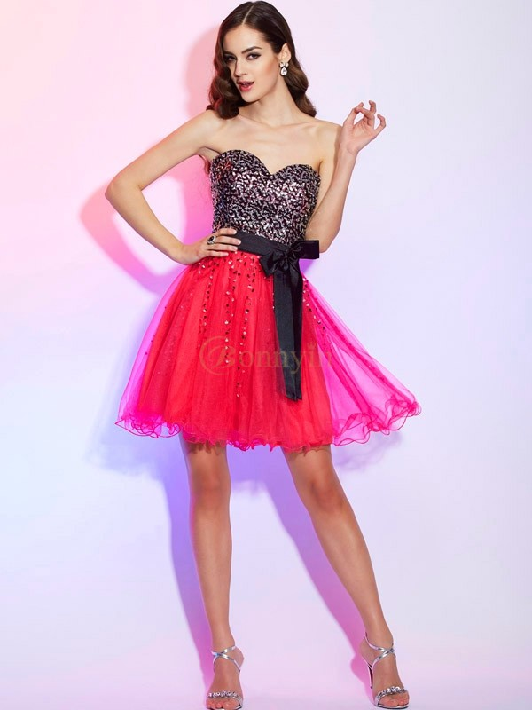 Watermelon Organza Sweetheart A-Line/Princess Short/Mini Cocktail Dresses