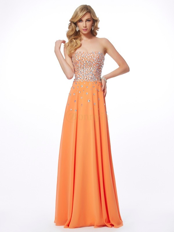 Orange Chiffon Sweetheart A-Line/Princess Floor-Length Dresses
