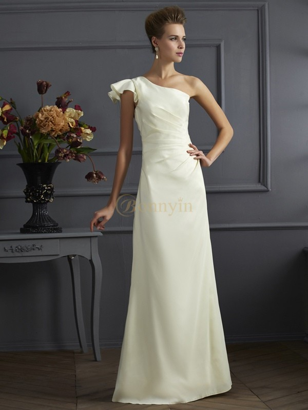 Ivory Elastic Woven Satin One-Shoulder Sheath/Column Floor-Length Bridesmaid Dresses
