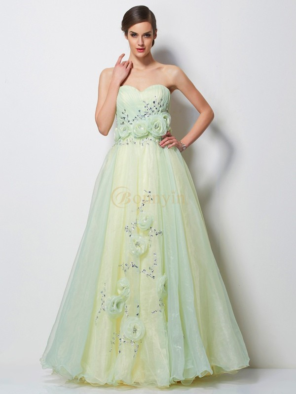 Sage Satin Tulle Sweetheart A-Line/Princess Floor-Length Dresses