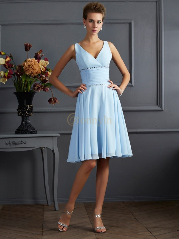 Light Sky Blue Chiffon V-neck A-Line/Princess Knee-Length Bridesmaid Dresses