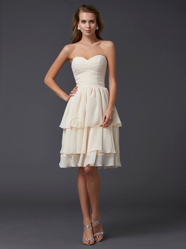 Champagne Chiffon Sweetheart Sheath/Column Knee-Length Bridesmaid Dresses