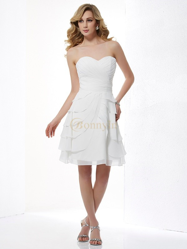 Ivory Chiffon Sweetheart A-Line/Princess Knee-Length Bridesmaid Dresses