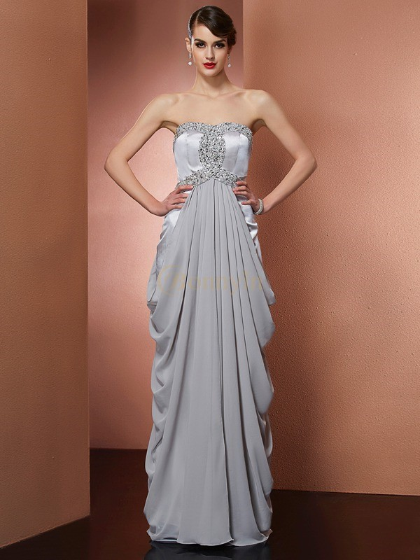Grey Chiffon Strapless Sheath/Column Floor-Length Dresses