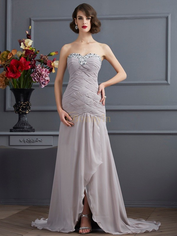 Silver Chiffon Sweetheart A-Line/Princess Sweep/Brush Train Dresses