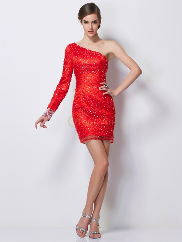 Red Elastic Woven Satin One-Shoulder Sheath/Column Short/Mini Cocktail Dresses
