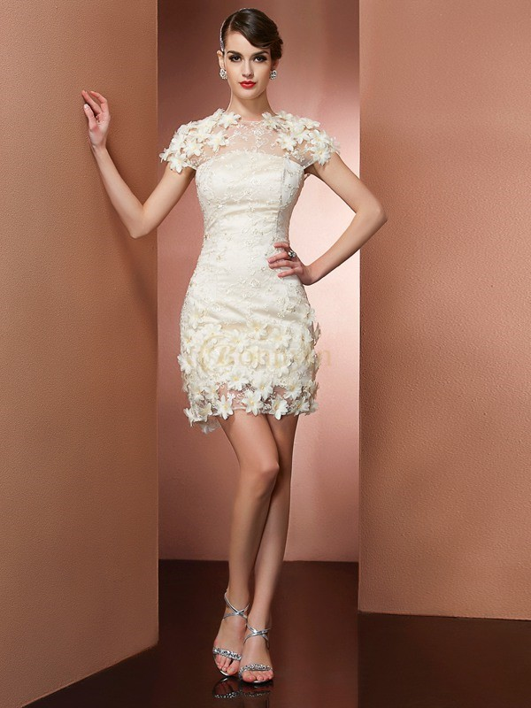 Champagne Satin Lace High Neck Sheath/Column Short/Mini Cocktail Dresses