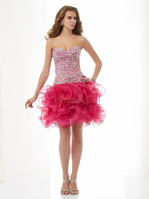 Watermelon Organza Sweetheart Sheath/Column Short/Mini Cocktail Dresses