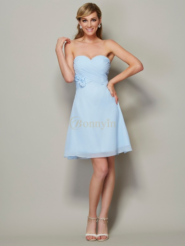 Blue Chiffon Sweetheart A-Line/Princess Short/Mini Cocktail Dresses