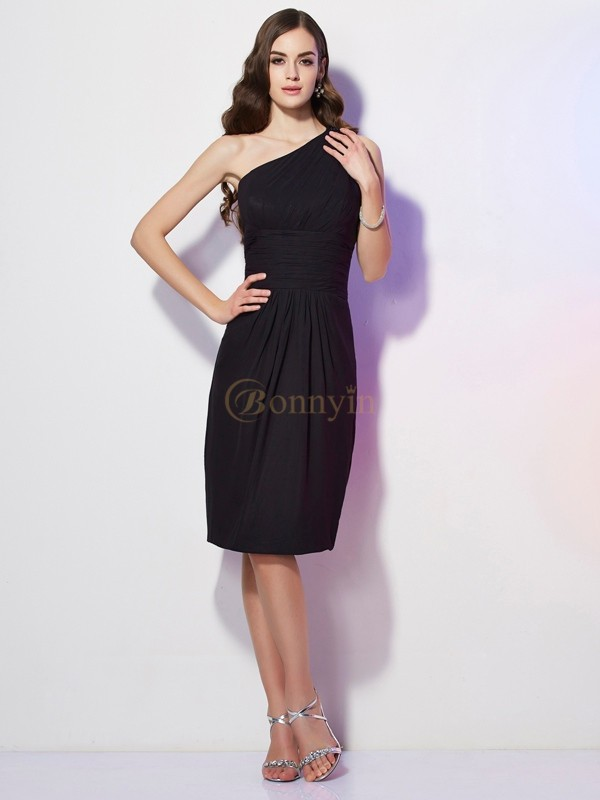 Black Chiffon One-Shoulder Sheath/Column Knee-Length Dresses