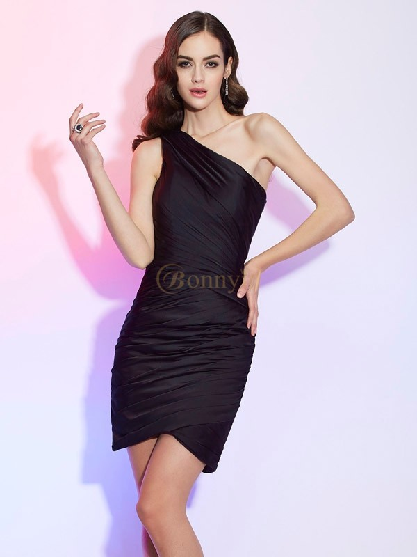 Black Chiffon One-Shoulder Sheath/Column Short/Mini Cocktail Dresses
