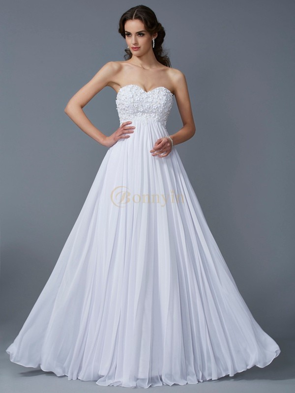 White Chiffon Sweetheart A-Line/Princess Floor-Length Dresses