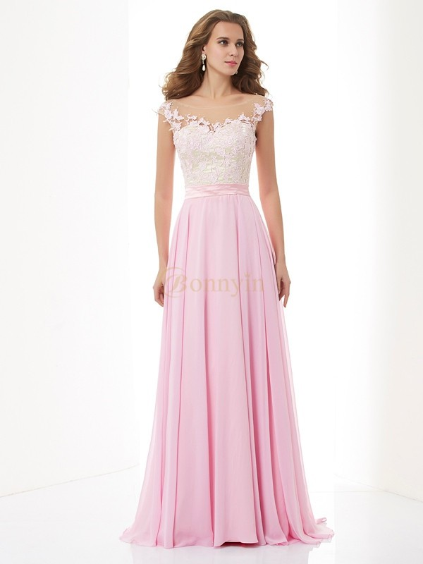 Pink Chiffon Straps A-Line/Princess Sweep/Brush Train Dresses