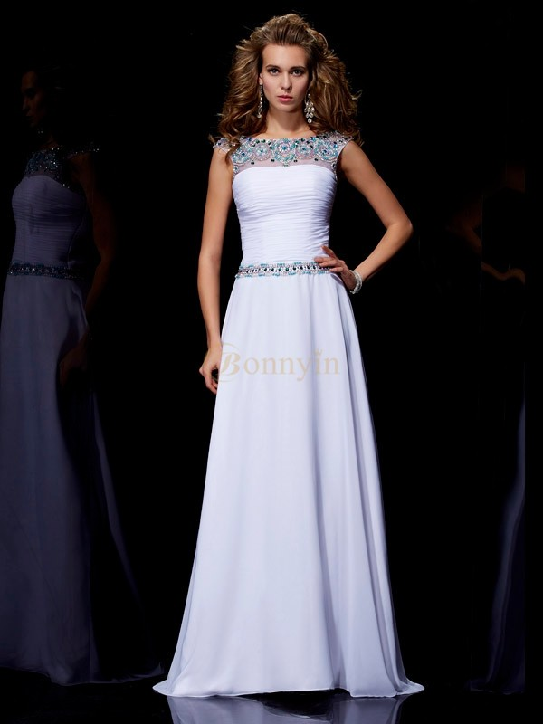 White Chiffon Scoop A-Line/Princess Sweep/Brush Train Dresses