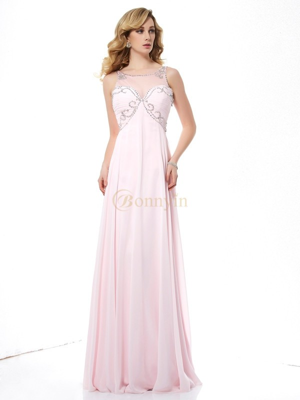 Pearl Pink Chiffon Scoop A-Line/Princess Sweep/Brush Train Dresses