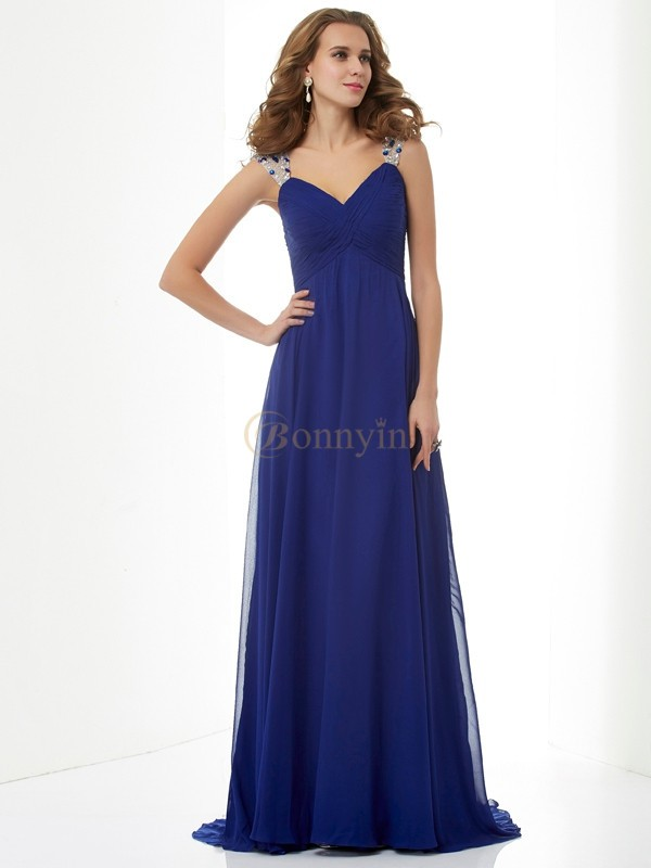 Royal Blue Chiffon Straps A-Line/Princess Sweep/Brush Train Dresses