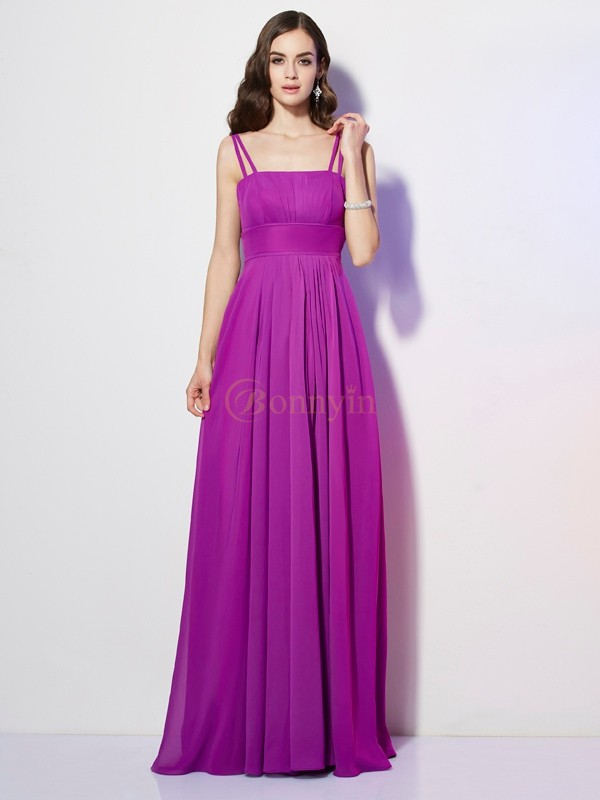 Regency Chiffon Spaghetti Straps Sheath/Column Floor-Length Dresses
