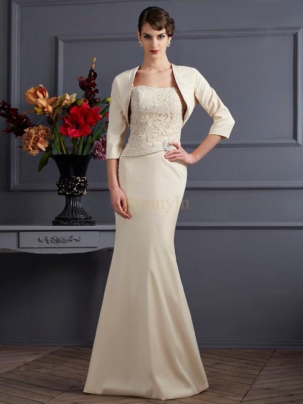 Champagne Elastic Woven Satin Square Sheath/Column Floor-Length Mother of the Bride Dresses