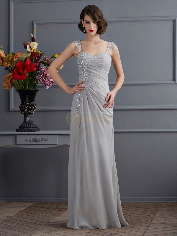 Silver Chiffon Straps Trumpet/Mermaid Floor-Length Dresses