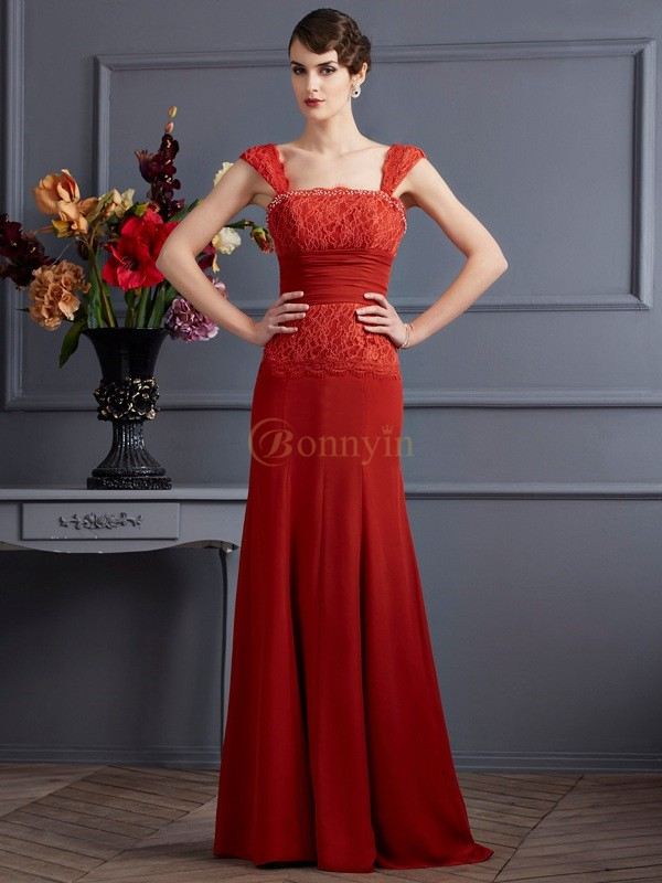Red Chiffon Straps Sheath/Column Floor-Length Dresses