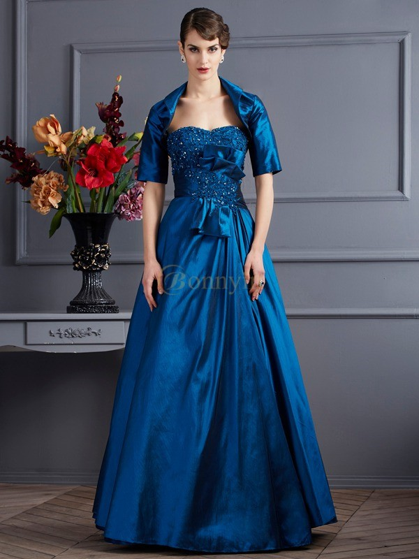 Royal Blue Taffeta Sweetheart A-Line/Princess Floor-Length Dresses