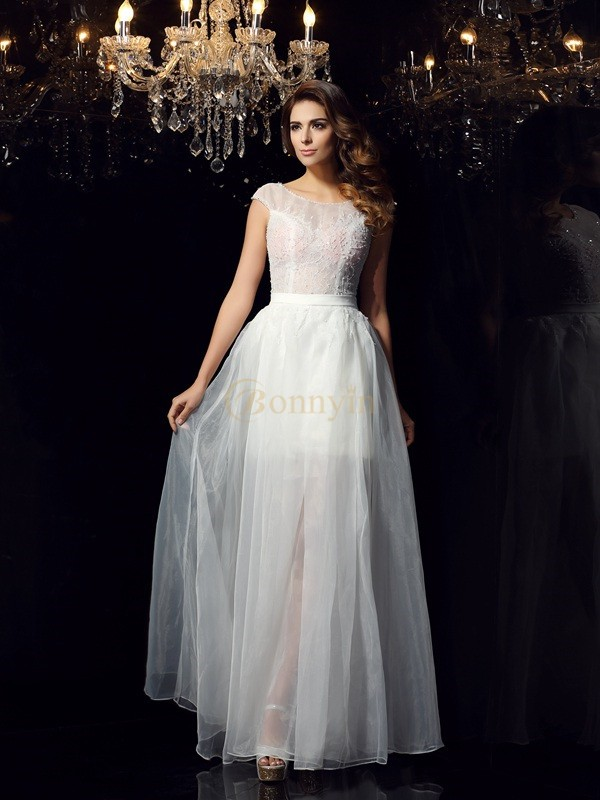 Ivory Tulle Scoop A-Line/Princess Floor-Length Dresses