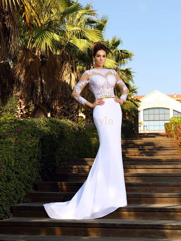 White Satin Scoop Sheath/Column Court Train Wedding Dresses