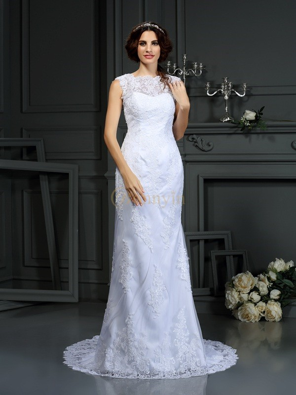 White Lace High Neck Sheath/Column Court Train Wedding Dresses