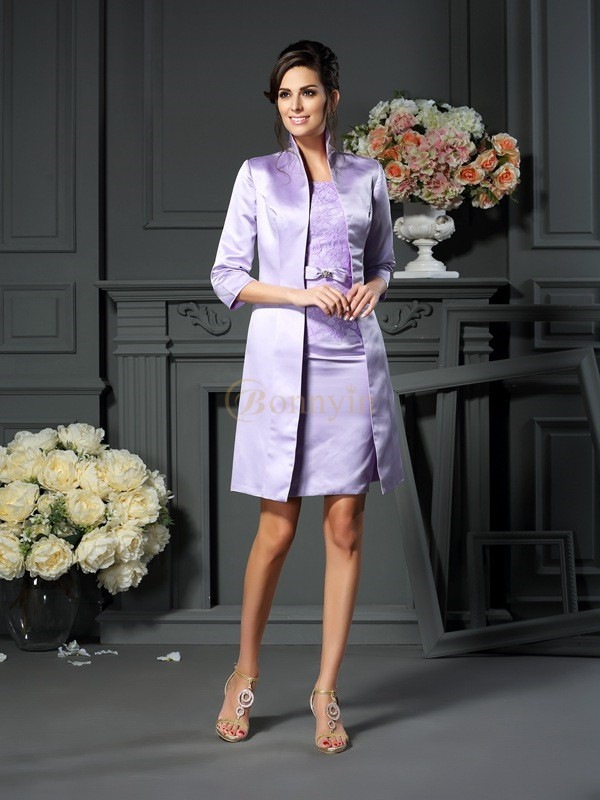 Lilac Satin Scoop Sheath/Column Short/Mini Mother of the Bride Dresses