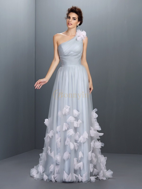 Grey Net One-Shoulder A-Line/Princess Floor-Length Dresses