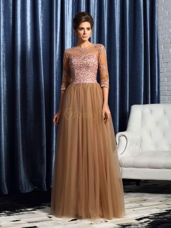Brown Elastic Woven Satin Scoop A-Line/Princess Floor-Length Mother of the Bride Dresses