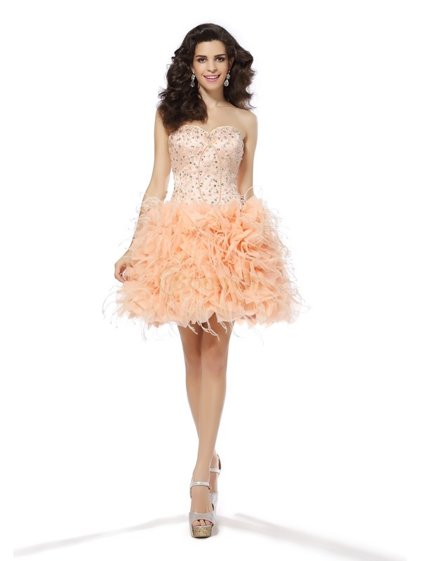 Pearl Pink Organza Sweetheart A-Line/Princess Short/Mini Dresses