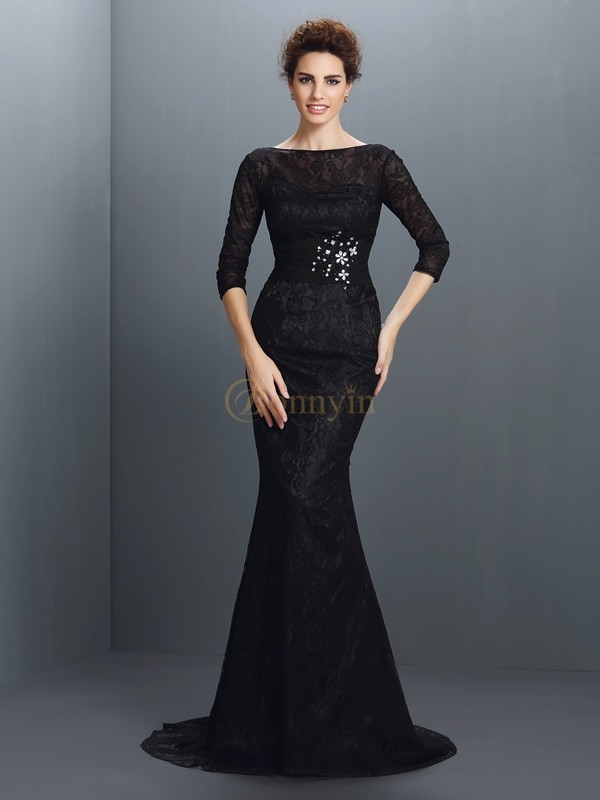 Black Elastic Woven Satin Bateau Trumpet/Mermaid Sweep/Brush Train Dresses