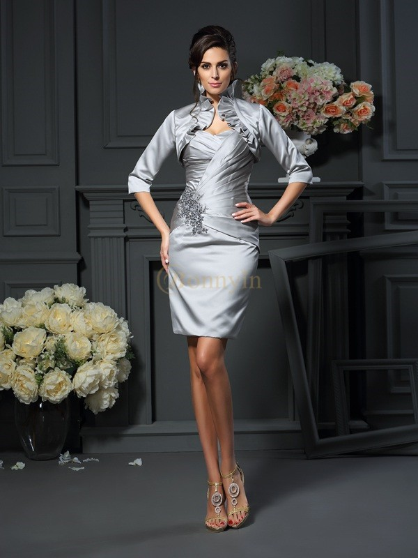 Grey Satin Sweetheart Sheath/Column Short/Mini Mother of the Bride Dresses