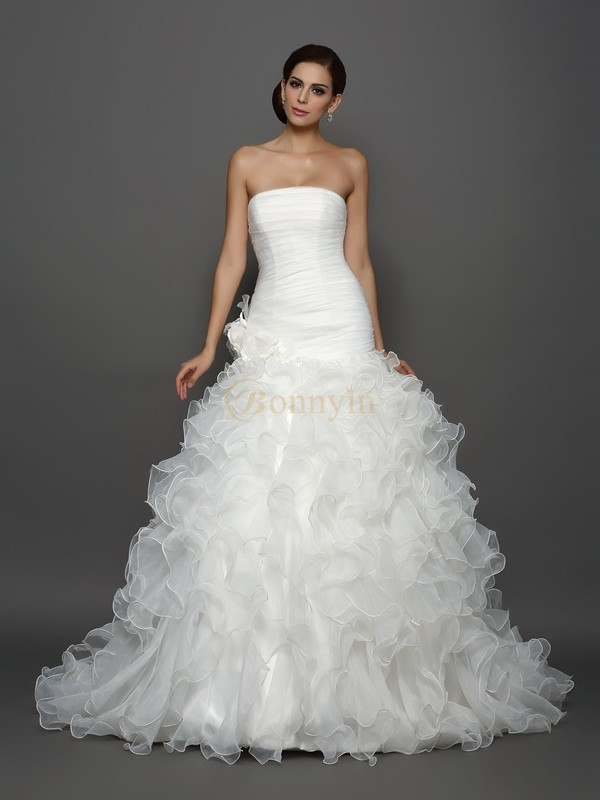 Ivory Organza Strapless Ball Gown Cathedral Train Wedding Dresses