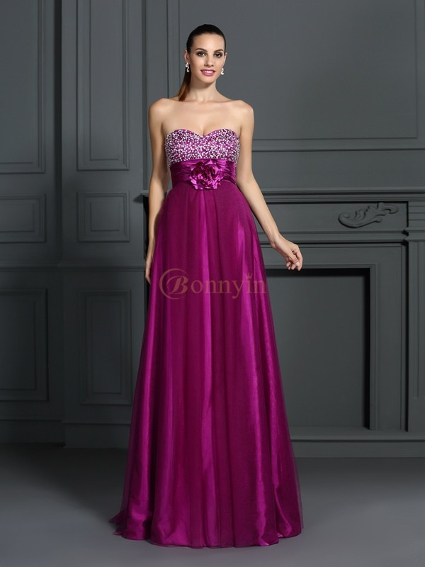 Fuchsia Elastic Woven Satin Sweetheart A-Line/Princess Floor-Length Dresses
