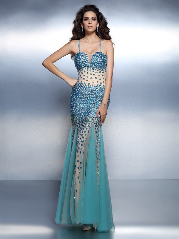 Blue Satin Spaghetti Straps Trumpet/Mermaid Floor-Length Dresses