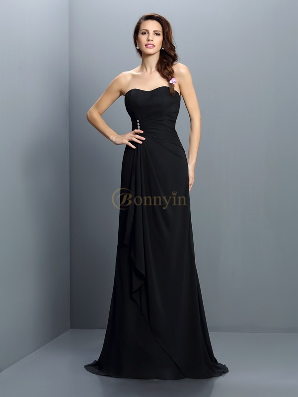 Black Chiffon Strapless Trumpet/Mermaid Sweep/Brush Train Bridesmaid Dresses