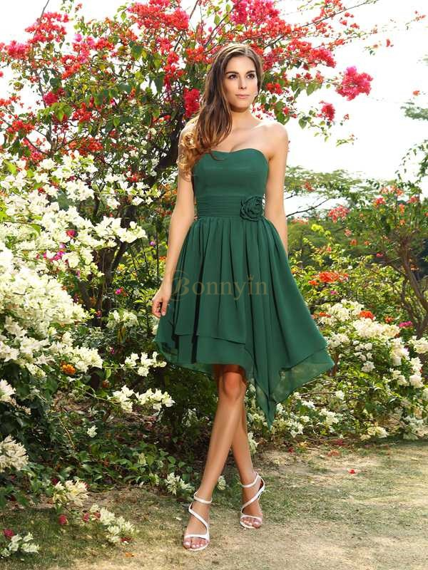 Dark Green Chiffon Sweetheart A-Line/Princess Knee-Length Bridesmaid Dresses