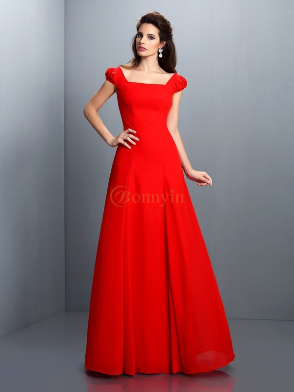 Red Satin Bateau A-Line/Princess Floor-Length Dresses