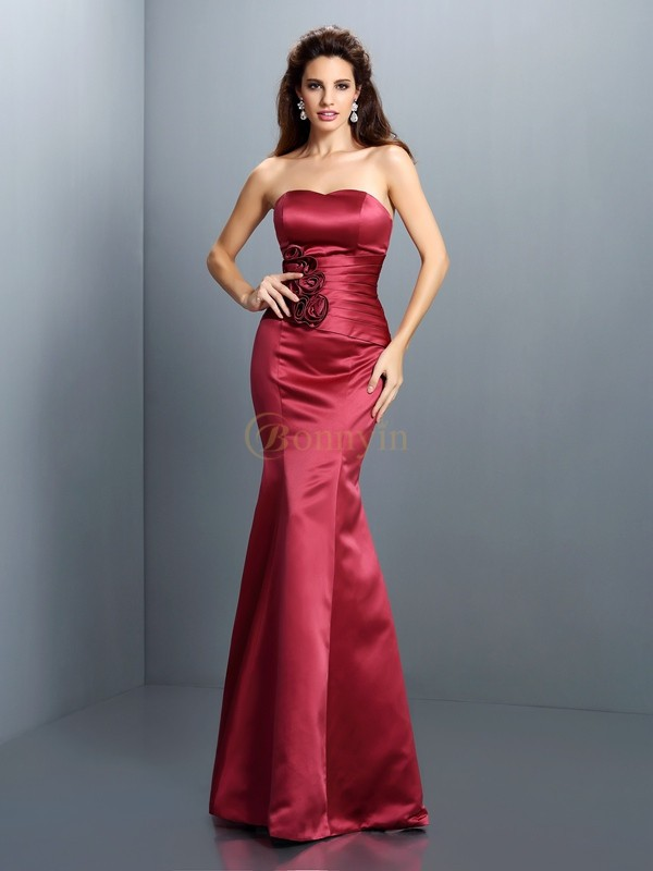 Burgundy Satin Strapless Trumpet/Mermaid Floor-Length Evening Dresses