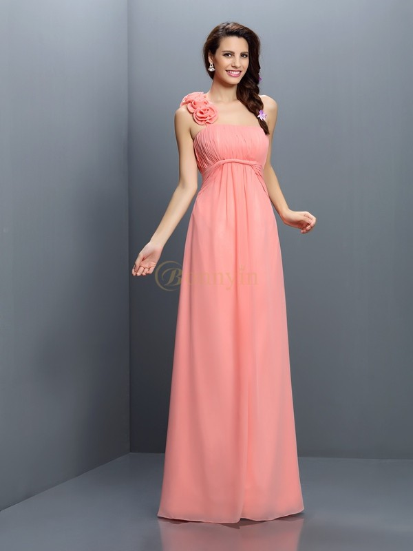 Pink Chiffon Strapless A-Line/Princess Floor-Length Bridesmaid Dresses