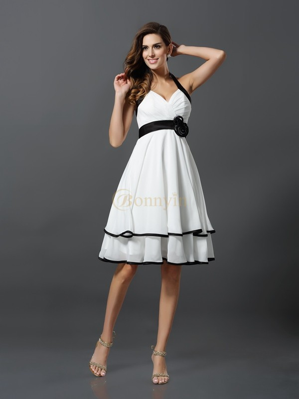 Ivory Chiffon Halter A-Line/Princess Knee-Length Dresses