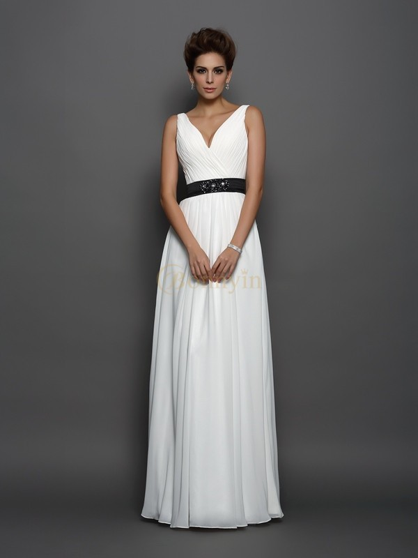 Ivory Chiffon V-neck A-Line/Princess Floor-Length Wedding Dresses