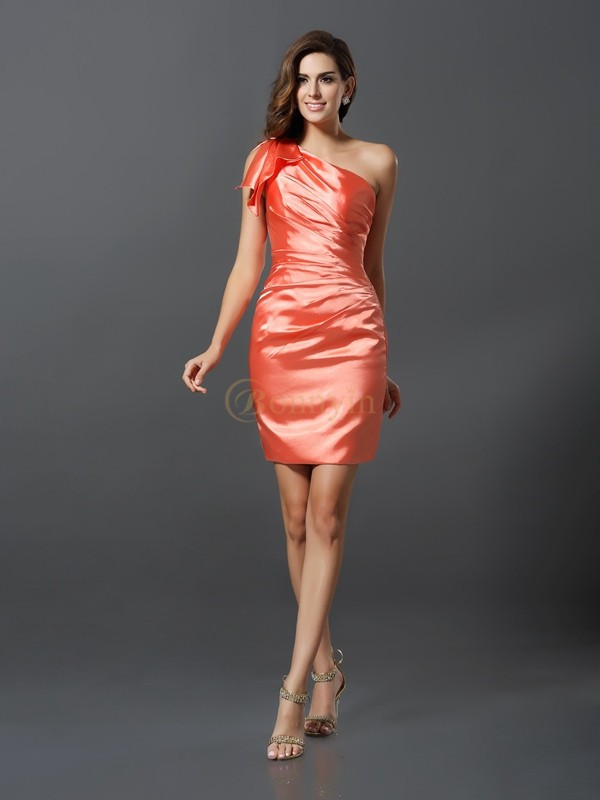Orange Elastic Woven Satin One-Shoulder Sheath/Column Short/Mini Bridesmaid Dresses