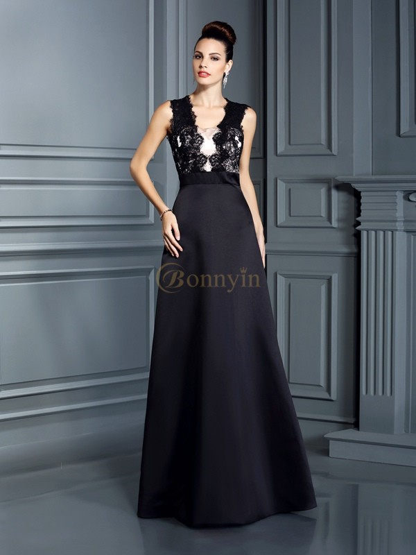 Black Satin Straps A-Line/Princess Floor-Length Dresses