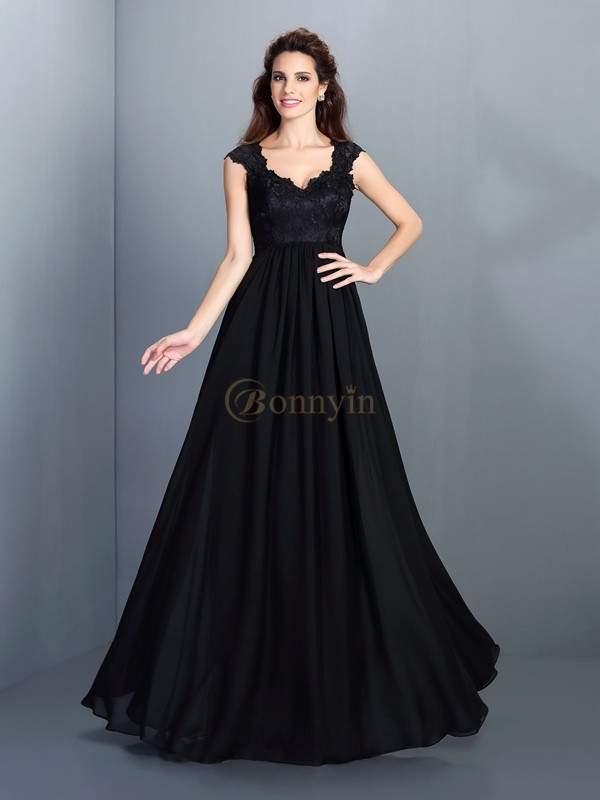 Black Chiffon Scoop A-Line/Princess Floor-Length Bridesmaid Dresses