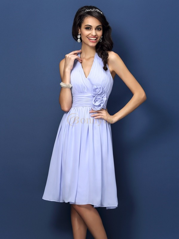 Lavender Chiffon Halter A-Line/Princess Knee-Length Bridesmaid Dresses